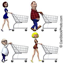 shoppers, achats, dessin animé, charrette
