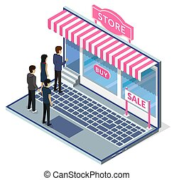 Shoppers line up at conceptual online store on large laptop screen. Cartoon store showcase