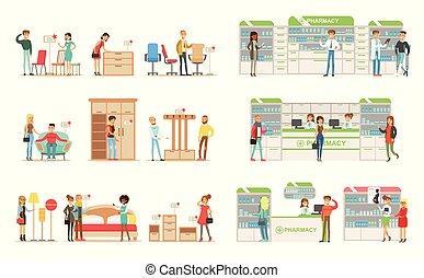 shoppers, udkårer, og, købe, furniture, ind, shop, folk, købe, narkotiske midler, vitaminer, og, medikamenter, ind, apotek, vektor, illustrationer, på, en, hvid baggrund