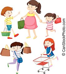 Shoppers with bags and cart