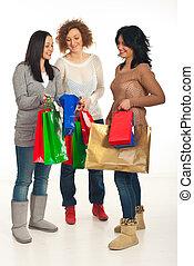 Shoppers women having conversation