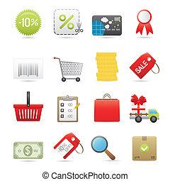 shopping, ícones, jogo