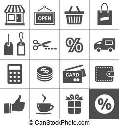 shopping, ícones, jogo, -, simplus, série