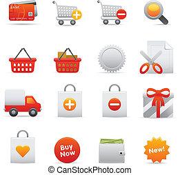 shopping, ícones, jogo, |, vermelho, série, 01