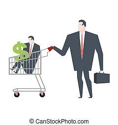 shopping., ügy, család, ábra, menedzser, vektor, cart., jár, bolt