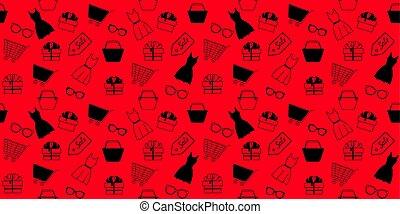 shopping., πρότυπο , παρασκευή , seamless, πώληση , μαύρο , διαφήμιση , εξαρτήματα , women's είδη ιματισμού