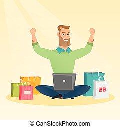 shopping., ラップトップ, オンラインで, 使うこと, コーカサス人, 人