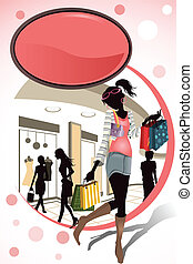 Shopping - A vector illustration of people shopping in a...