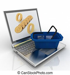 shopping-, achat, conception, isolated., ordinateur portable, denrées, internet, panier