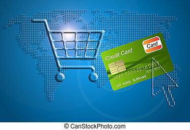 shopping., achats, carte, charrette, crédit, concept, ...