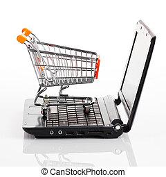 shopping., achats, sur, charrette, cahier, white., ligne, ordinateur portable