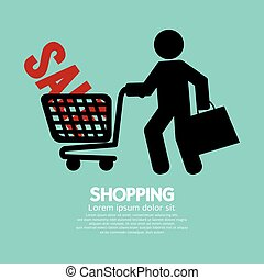 shopping, acquirente, carrello, simbolo.