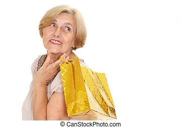 shopping, adorabile, donna, vecchio