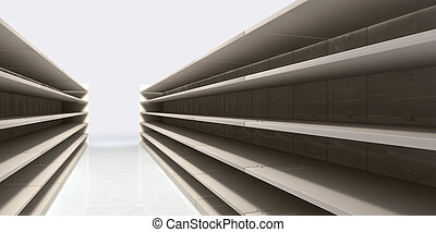 A perspective view of a shopping aisle with empty shelves