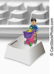 shopping, alfabeto, sopra, carrello, chiave calcolatore, tastiera