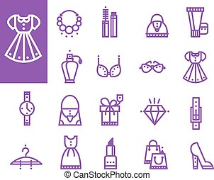 shopping, ame coração, com, jogo, de, vetorial, moda, womens, ícones