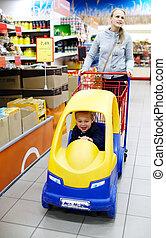 shopping, amichevole, supermercato, bambino