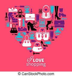 shopping, amor, -, coração, com, jogo, de, vetorial, moda, women's, ícones