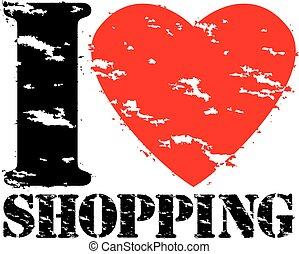 shopping, amor, selo, ilustração, borracha, vetorial, grunge