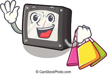 Shopping ampere meter in the cartoon shape vector illustration