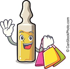Shopping ampoule character cartoon style vector illustration