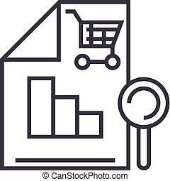 shopping analysis vector line icon, sign, illustration on background, editable strokes