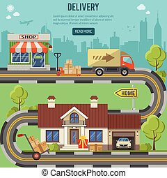 Shopping and Delivery Concept - Shopping, Delivery and...