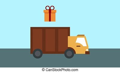 Shopping and delivery HD animation - Giftbox coming out from...
