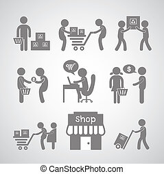 shopping and delivery symbol - shopping and delivery on gray...