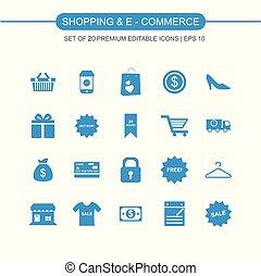 Shopping and Ecommerce icons set blue