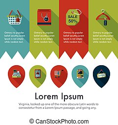 Shopping and online shop icons set