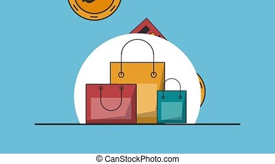 Shopping and payment HD animation