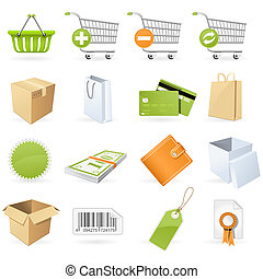 Shopping and retail icon set on the white