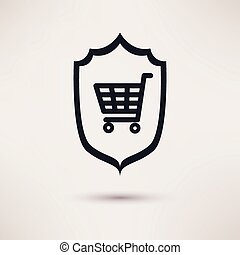 Shopping and shield. Sign of consumer protection