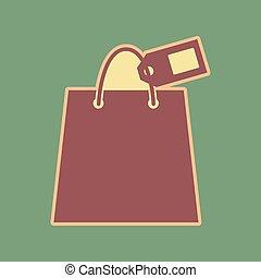 shopping, apr, sinal, saco, cordovan, vector., tag., maduro,...