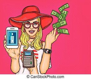 shopping, arte, dimostra, giovane, illustrazione, pop, vettore, possibilità, linea, ragazza, elettronico, pagamenti