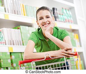 Shopping at supermarket