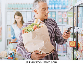 Shopping at the store