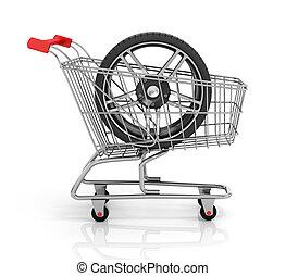 shopping, automobile, parts., cart., auto, ruote, acquisto
