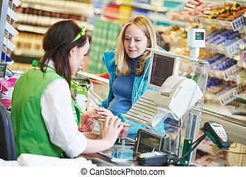 shopping., averigüe, en, supermercado, tienda