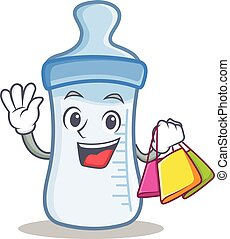 Shopping baby bottle character cartoon