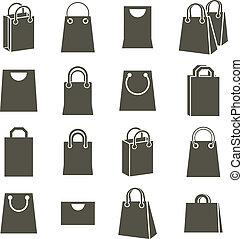 Shopping back icons isolated on white background vector set,...