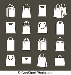 Shopping back icons vector set, shopping theme simplistic symbol