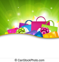Shopping Background - Bright Shopping Background, Vector...