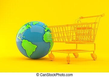 Shopping background with world globe