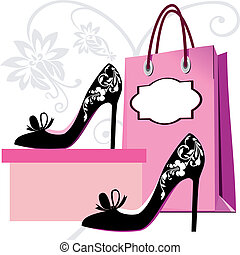 Womens shoes silhouette with shopping bags and floral ornaments