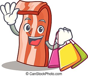 Shopping bacon character cartoon style
