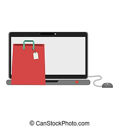 Shopping bag and laptop of commerce concept