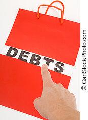 Shopping Bag and word debts