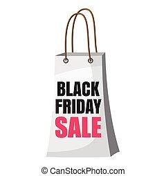 Shopping bag black friday sale icon, cartoon style